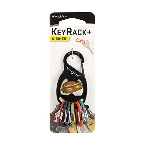 Nite Ize KeyRack, Stainless Steel Carabiner Key Chain With Bottle Opener + 6 Colorful Plastic S-Biners To Hold + Identify Keys, - Biner Keychain