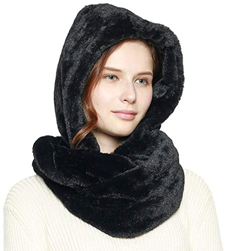 Fashion 21 Women's Thick & Soft Faux Fur Infinity Hood Scarf Head Scarf Shawl Wrap (Hooded - Black)