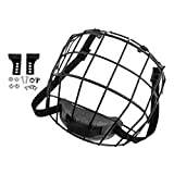hockey helmet replacement parts - Baosity Ice Hockey Mask Cage Face Shield Helmet Accessories with Mount Kits - Black, as described