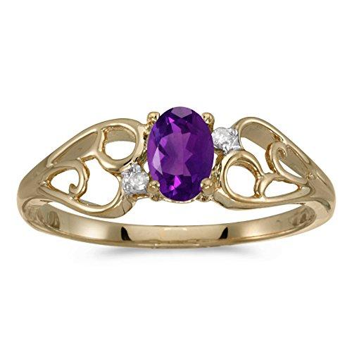 - 0.36 Carat ctw 10k Gold Oval Purple Amethyst & Diamond Heart Shape Swirl Filigree Fashion Promise Ring - Yellow-gold, Size 4