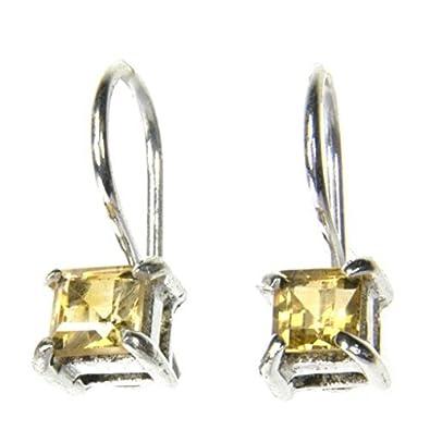 Sterling Silver Citrine 4mm Square Stud Earrings