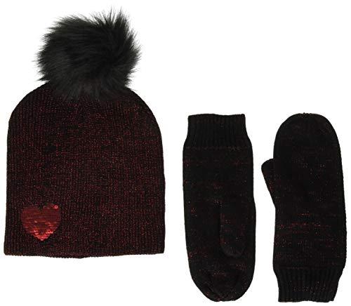 Betsey Johnson Women's Heart Hat Glove 2 Piece Set, Black/red, ONE Size