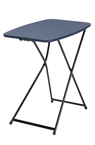 "COSCO 18"" x 26"" Indoor Outdoor Adjustable Height Personal Folding Tailgate Table, Dark Blue, 2-Pack"
