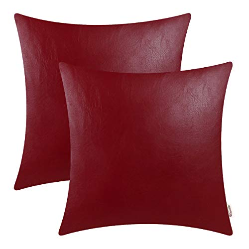 BRAWARM Cozy Throw Pillow Covers Cases for Couch Sofa Bed Solid Faux Leather Soft Cushion Covers Durable Pillowcase Home Decoration Accent Both Sides 18 X 18 Inches Deep Red Pack of 2