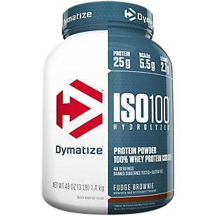 Dymatize ISO 100 Whey Protein Powder Isolate, Fudge Brownie, 3 lbs