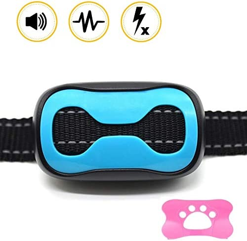 GlobalWay Dog Bark Collar, Humane Anti Barking Collar for Dogs, Rechargeable Vibrating Collar to Stop Barking with Adjustable Vibration Intensities for Small Medium and Large Dogs