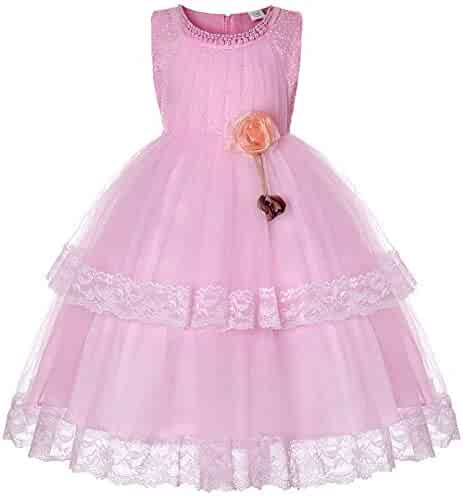 01c71d2da Tueenhuge Girls Flower Pageant Birthday Formal Dress Kids Ruffle Tulle Wedding  Party Gowns