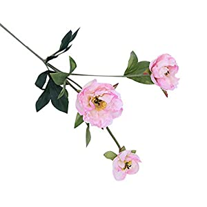 helegeSONG Fake Flowers Silk Plastic Artificial Plant 1Pc Artificial Flower Peony Garden Bridal Wedding Party Decor Photography Props for Home,Office,Wedding,Garden, Pool, Gift, Desk, Hotel - Pink 51
