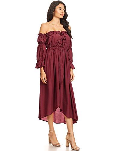 Dénudées Manches kaci Renaissance Rouge Épaules Longues Anna Boho Femme Robe À n6xX8Sqw