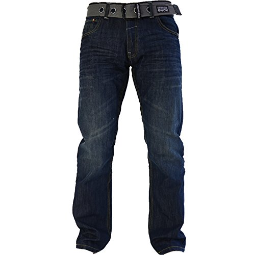 Dritta Crosshatch Con Jeans Gamba Regular Wash Denim Di Cintura Uomo Wak Dark Marca Gratis Cotone qtrtxgz
