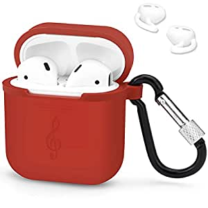 LIKDAY AirPods Accessories Set - Protective Silicone Case Cover and Ear Hooks for Apple Airpod (Red)