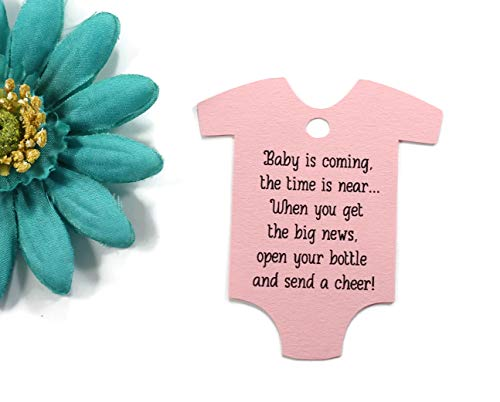 - Baby is Coming Shower Favor Tags - Light Pink One Piece Shaped Gift Tags (Set of 40)