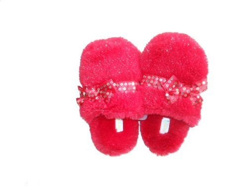 Capelli New York Leopard Faux Fur Slippers with Sequins Bow Red j6ikeNW