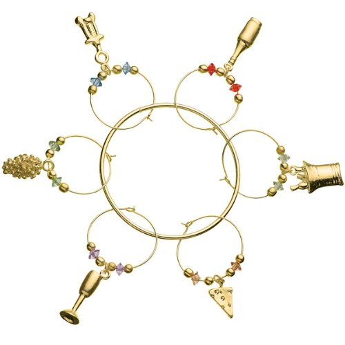 Prodyne Wine & Cheese Wine Glass Charms Gold ()