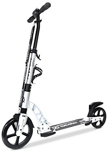 EXOOTER M1950WT 8XL Manual Adult Cruiser Kick Scooter with Dual Suspension Shocks and 240mm/200mm Big Wheels in White.