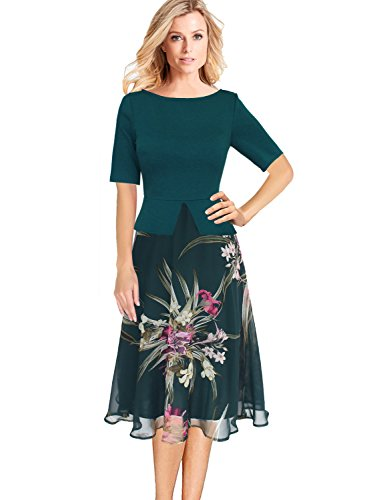 VFSHOW Womens Floral Print Peplum Business Casual Church A-Line Midi Dress 008 GRN XXL by VFSHOW