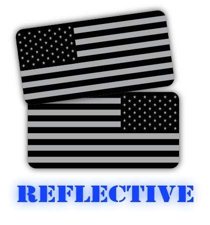 (x2) 3M REFLECTIVE Stealthy American Flag Hard Hat Stickers | Black Ops Decals | Tactical Gear Survival Labels | USA Flags Toolbox Helmet Patriotic Old Glory