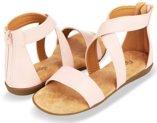 (Floopi Sandals for Women | Open Toe, Gladiator/Criss Cross-Design Summer Sandals W/Zip Up Back | Comfy, Faux Leather Ankle Straps W/Flat Sole, Memory Foam Insole | (8, Pink-515))