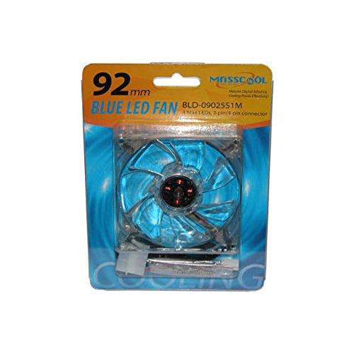 MassCool BLD-09025S1M 92mm 3 & 4pin 4-Blue LED Case Fan Power supply fan