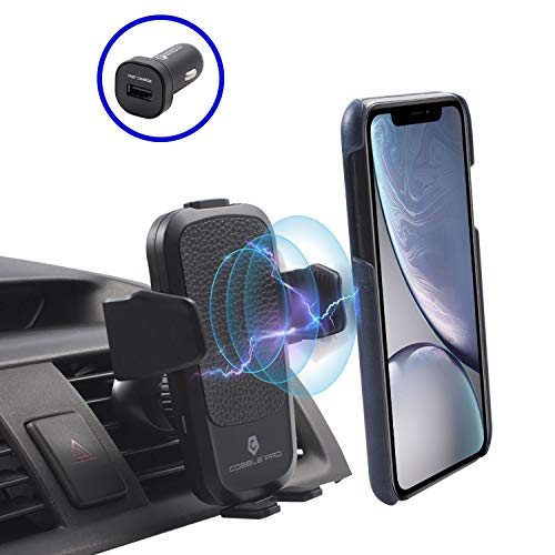 Cobble Pro 10W Wireless Fast Charge Car Mount, Leather Design Air Vent Phone Holder Compatible with Samsung Galaxy S10/S10 Plus/S10e/S9 S8/iPhone X Xs Max XR 8 Qi Enabled Devices, w/QC 3.0 Car Charger