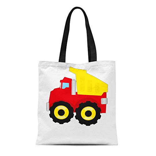 Semtomn Cotton Line Canvas Tote Bag Yellow Truck Kids Construction Dumptruck Dump Boys Childrens Primary Reusable Handbag Shoulder Grocery Shopping Bags ()