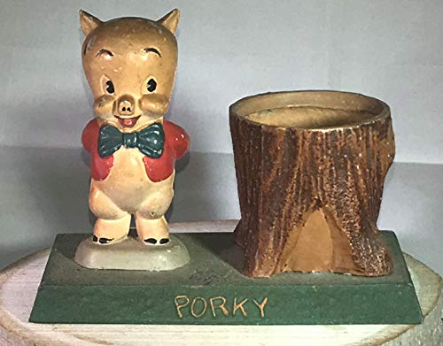Porky Pig Vintage 1940s with Tub Figurine by Moss Metal