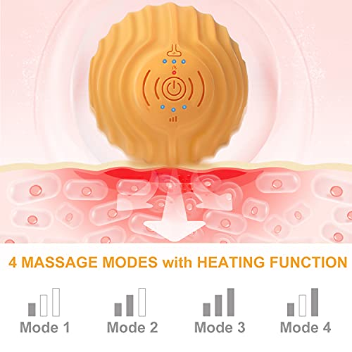 Vibrating Massage Ball - Craftersmark Deep Tissue Massager with Heat Therapy,4 Modes High-Intensity Rechargeable Massage Roller,Trigger Point Ball for Pain Relief & Muscle Therapy (Included Yoga Band)