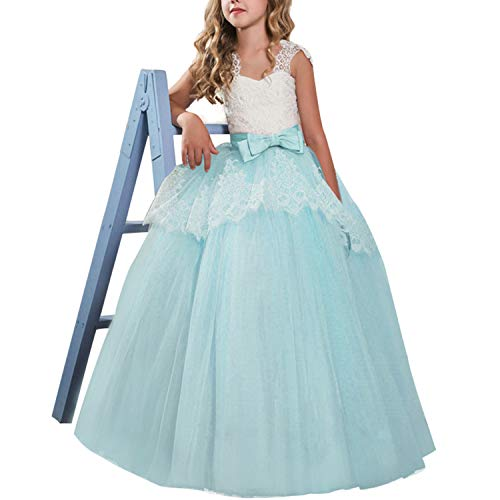 NNJXD Girls Flower Wedding Dresses Lace Princess Pageant Dress Prom Ball Gown Size(130) 02Green 7-8 Years from NNJXD