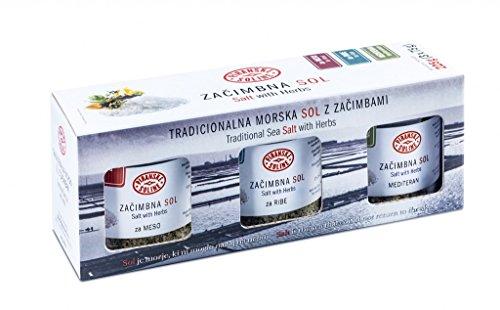 Piranske Soline Set of Traditional Sea Salt with Herbs 225g (3x 75g)