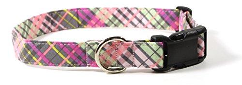 Ruff Roxy Pastel Plaid, Designer Cotton Dog Collar, Adjustable Handmade Fabric Collars (L, Black)