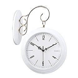 BGXC Wall Clock Solid Wood Double-Sided Wall Clock Modern Silent Decoration LivInchg Room Home Quartz Clock 20 Inches,White