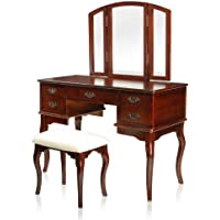 Furniture of America Matilda Chippendale Style Vanity and Stool Set, Cherry