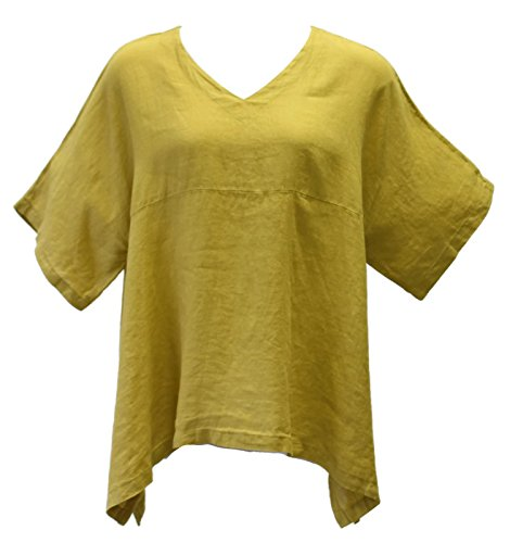 Citron Tunic - Match Point Women's Citron Linen Kimono Tunic Oversized (1X)