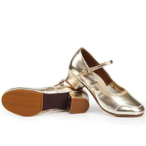 Zapatos Sandalias Tobillo de Suave de de Mujeres Onecolor Cuero Square Cuero tacón de Zapato Samba BYLE de Adultas Dance Baile Dorado Modern Zapatos Jazz Alto 5Zdwq5f
