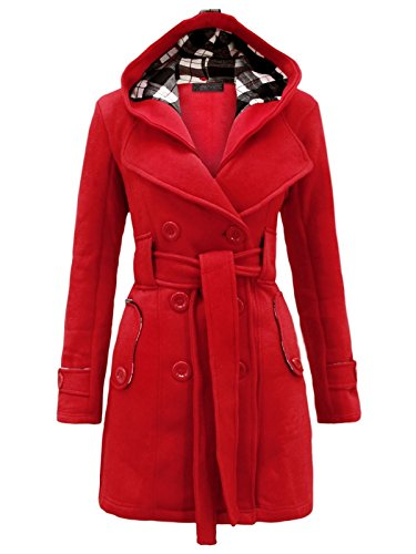 Envy Boutique Women's Military Button Hooded Fleece Belted Jacket Red 10