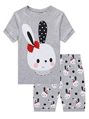 Little Girls Rabbit Easter Pajamas 100% Cotton Gray Summer Pjs Short Sleeve Sleepwear Toddler Kid 5 -