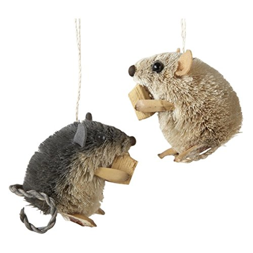 Kurt Adler 2.5-Inch Buri Sitting Mouse with Cheese Christmas Ornaments 2 -