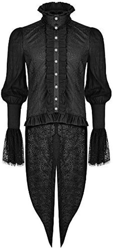 Punk Rave Hombre Gótico Camisa top negro Cola de Golondrina Steampunk Aristocrat vampiro: Amazon.es: Ropa y accesorios