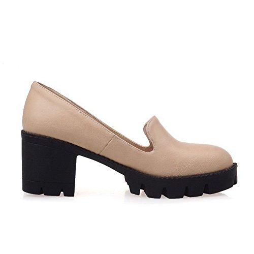AllhqFashion Damen Mittler Absatz Eingelegt Rund Zehe Ziehen auf Stiefel, Aprikosen Farbe, 42