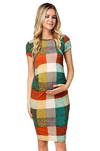 My Bump Women's Maternity Bodycon Causual Short Sleeve Mama Dress(Made in USA) (Small, Rust/Sand SYAC) -