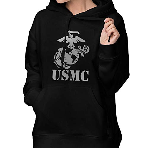 Womens Winter Hoodies Eagle Globe Anchor USMC Marine Corps Cotton Hooded Coat Jacket Pullover Sweatshirt Outwear Long - Globe Marine Camo