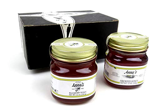 Anna's Gourmet Raw Honey 2-Flavor Variety: One 12 oz Jar Each of Blackberry and Fireweed in a BlackTie Box (2 Items Total)