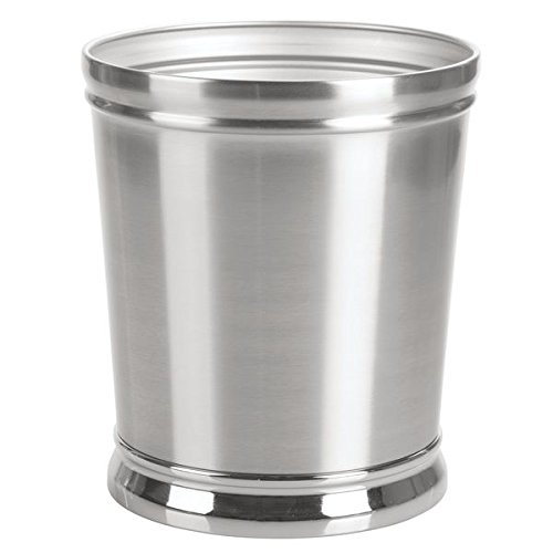 mDesign Decorative Metal Round Small Trash Can Wastebasket,