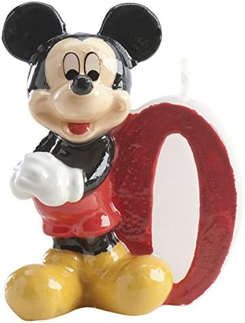 dekora 346156 Vela de Cumpleaños Mickey Mouse Numero 0, Cera ...
