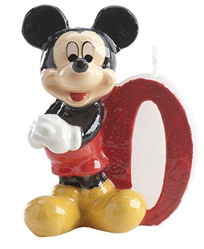 dekora 346156 Vela de Cumpleaños Mickey Mouse Numero 0, Cera, Multicolor, 6.5