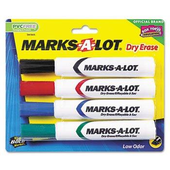 Avery 24409 Marks-A-Lot Desk-Style Dry Erase Marker, Chisel Tip, Assorted, (Desk Style Dry Erase Markers)