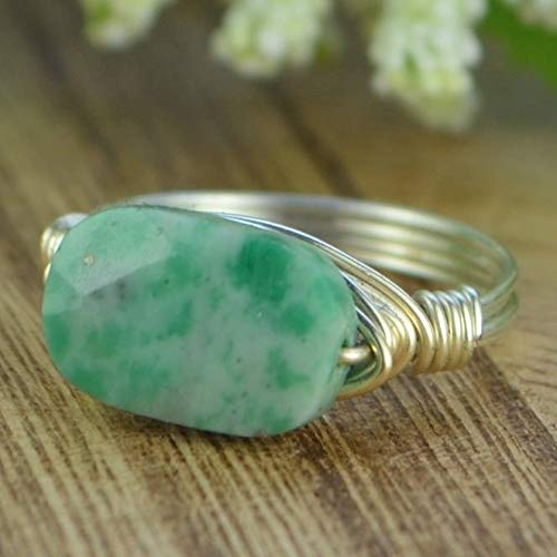 Green China Jade Faceted Rectangle Pillow Gemstone and Sterling Silver OR Gold Filled Wire Wrapped Ring- Custom Made to Size 4-14