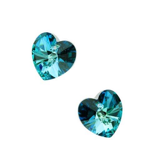 Swarovski Crystal, 6228 Heart Pendants 14mm, 2 Pieces, Bermuda - Mm Bermuda 14 Crystal