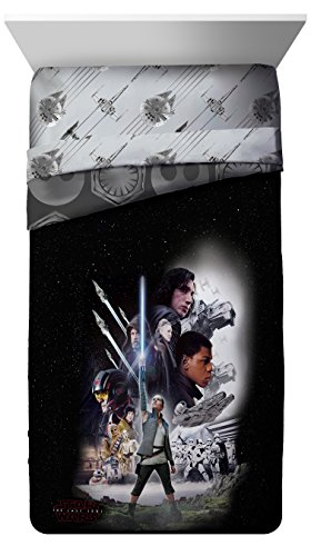 Skywalker Poster - Star Wars Ep 8 Epic Poster Black/Gray Reversible Twin Comforter with Rey, Finn, Poe, Kylo Ren, Luke Skywalker, Leia, BB-8, C3-PO, R2-D2 & Chewbacca