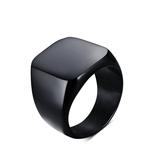 Price comparison product image JAJAFOOK Men's Black Tungsten Ring Wedding Band Smooth Edge Square 18mm Wide Rings